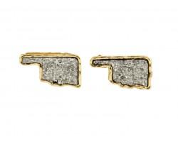Gray Glitter Oklahoma State Map Post Earrings