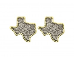 Gray Glitter Texas State Map Post Earrings