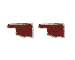 Red Glitter Oklahoma State Map Post Earrings