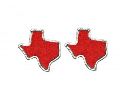 Red Glitter Texas State Map Silver Post Earrings