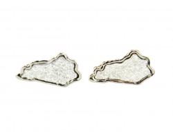 Silver Glitter Kentucky State Map Post Earrings