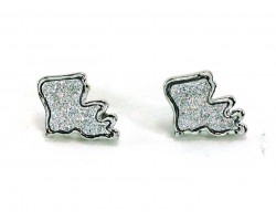 Silver Glitter Louisiana State Map Post Earrings