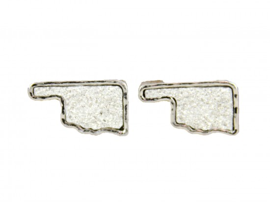 Silver Glitter Oklahoma State Map Post Earrings