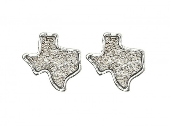 Silver Glitter Texas State Map Post Earrings