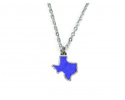Blue Glitter Texas State Map Silver Necklace