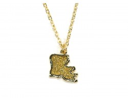 Gold Glitter Louisiana State Map Necklace