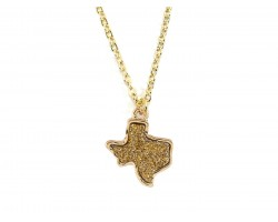 Gold Glitter Texas State Map Necklace