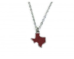 Maroon Glitter Texas State Map Silver Necklace