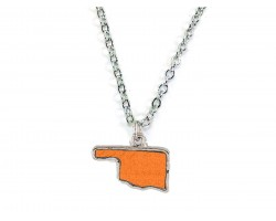 Orange Glitter Oklahoma State Map Silver Necklace