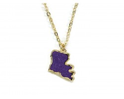 Purple Gold Glitter Louisiana State Map Necklace