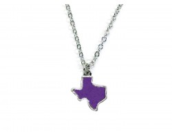 Purple Glitter Texas State Map Silver Necklace