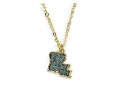 Gray Glitter Louisiana State Map Necklace