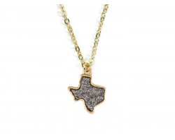Gray Glitter Texas State Map Necklace