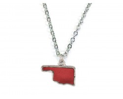 Red Glitter Oklahoma State Map Silver Necklace