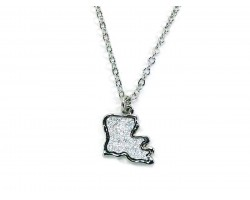 Silver Glitter Louisiana State Map Necklace