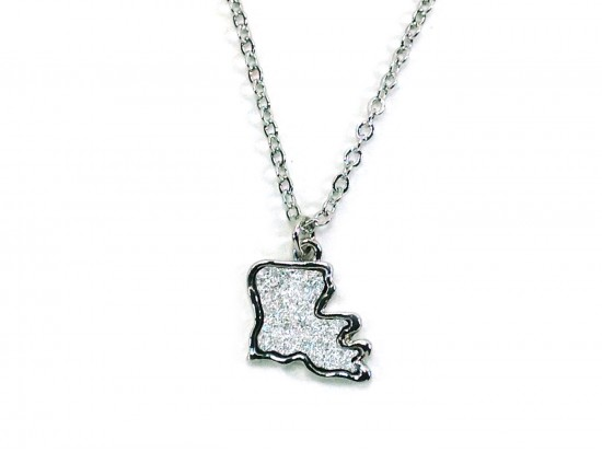 Silver Glitter Louisiana State Map Necklace