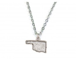 Silver Glitter Oklahoma State Map Necklace