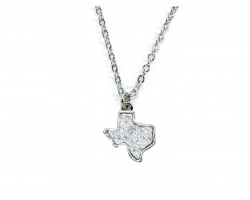 Silver Glitter Texas State Map Necklace