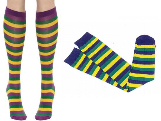 Mardi Gras Stripe Long Socks