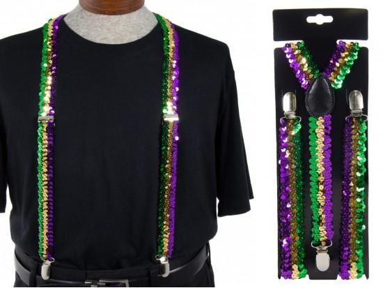 Mardi Gras Sequin Suspenders