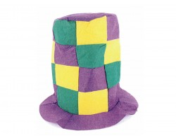 Mardi Gras Checker Tall Top Hat