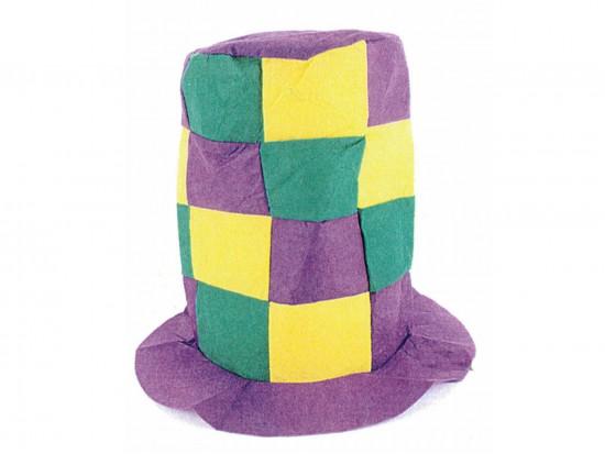 Mardi Gras Checker Tall Top Hat