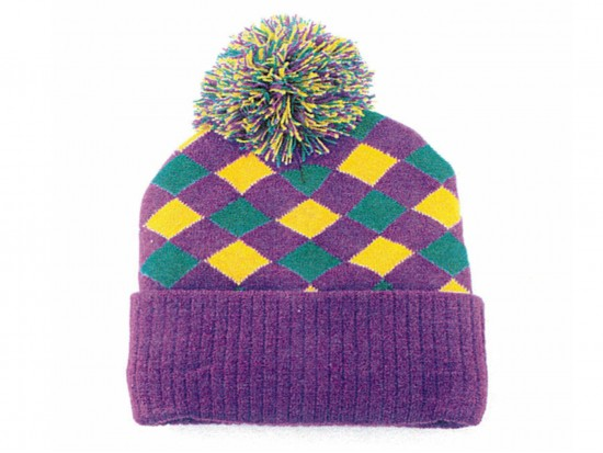 Mardi Gras Diamond Checker Patter Beanie Cap