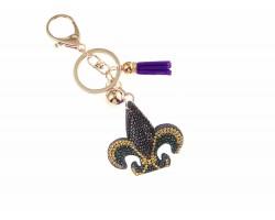 Mardi Gras Fleur De Lis Crystal Tassel Puffy Keychain