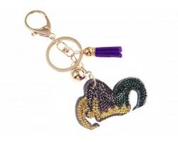 Mardi Gras Jester Hat Crystal Tassel Puffy Keychain
