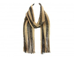 Black Gold Stripe Shimmer Oblong Scarf