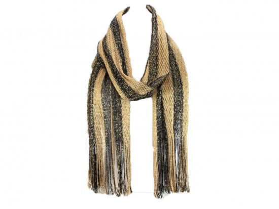 Black Gold Stripe Shimmer Oblong Scarf