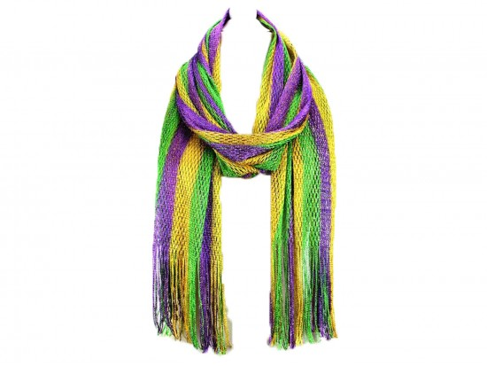 Mardi Gras Stripe Shimmer Oblong Scarf