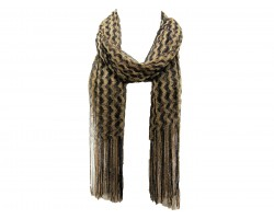 Black Gold Wavy Stripe Fringe Oblong Scarf