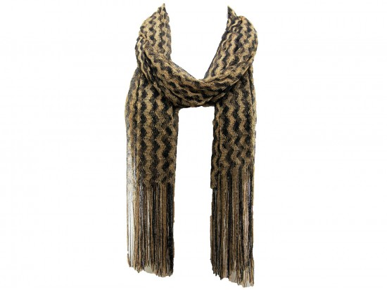 Black Gold Wavy Stripe Fringe Oblong Scarf