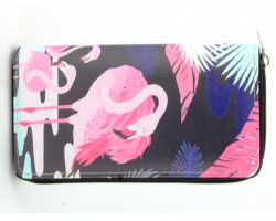 Pink Navy Blue Flamingo Zipper Wallet
