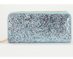 Multi Aqua Glitter Zipper Wallet