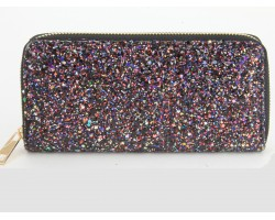Multi Black Glitter Zipper Wallet