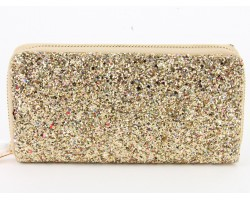 Multi Gold Glitter Zipper Wallet