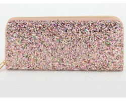 Multi Pink Glitter Zipper Wallet