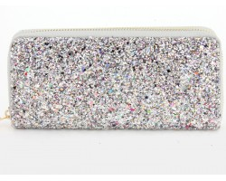 Multi Silver Glitter Zipper Wallet