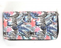 Multi Zebra Flamingo Jungle Print Zipper Wallet