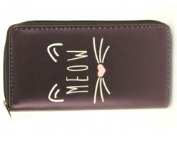 Black Meow Cat Face Zipper Wallet.