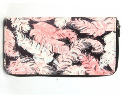 Pink White Feather Print Zipper Wallet