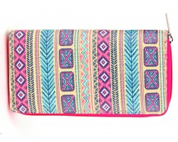 Multi Tribal Pattern Print Zipper Wallet