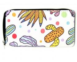 Multi Cactus Deco Print Zipper Wallet