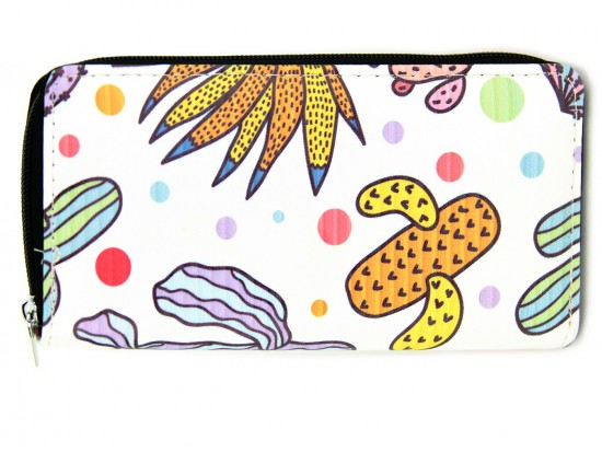 Multi Cactus Deco Print Zipper Wallet