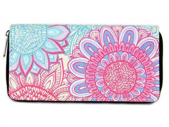 Pink Multi Boho Floral Print Zipper Wallet