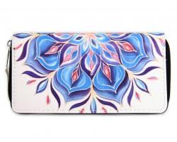 Blue Floral Print Zipper Wallet