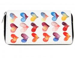 Multi Watercolor Hearts Pattern Zipper Wallet