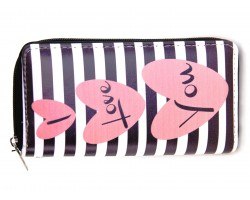 Pink Hearts Black White Stripe Zipper Wallet
